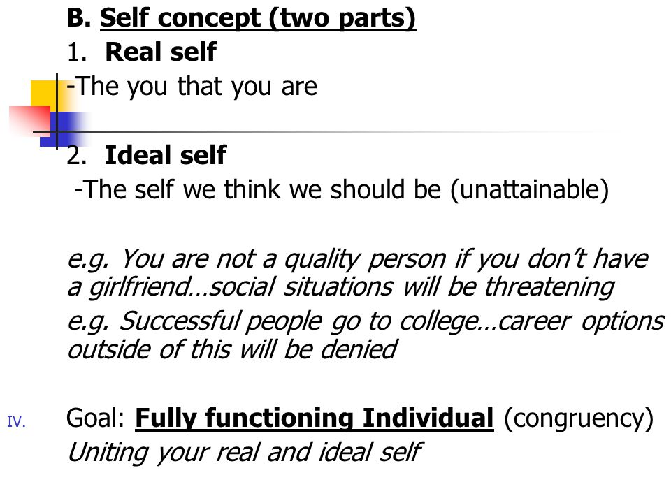 B. Self concept (two parts)