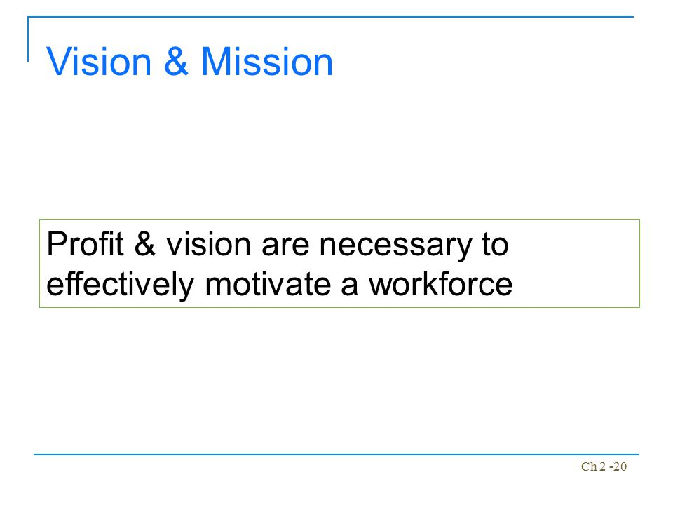 Vision & Mission Profit & vision are necessary to effectively motivate a workforce