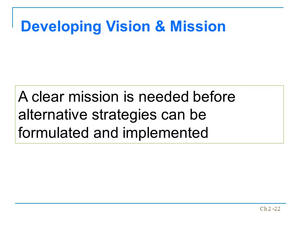Developing Vision & Mission