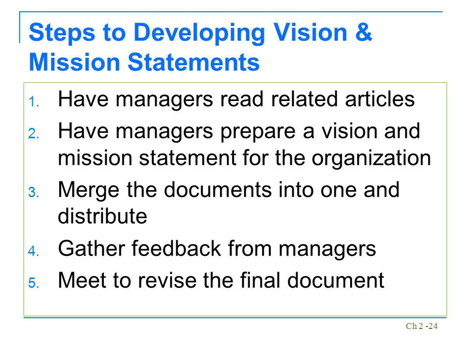 Steps to Developing Vision & Mission Statements