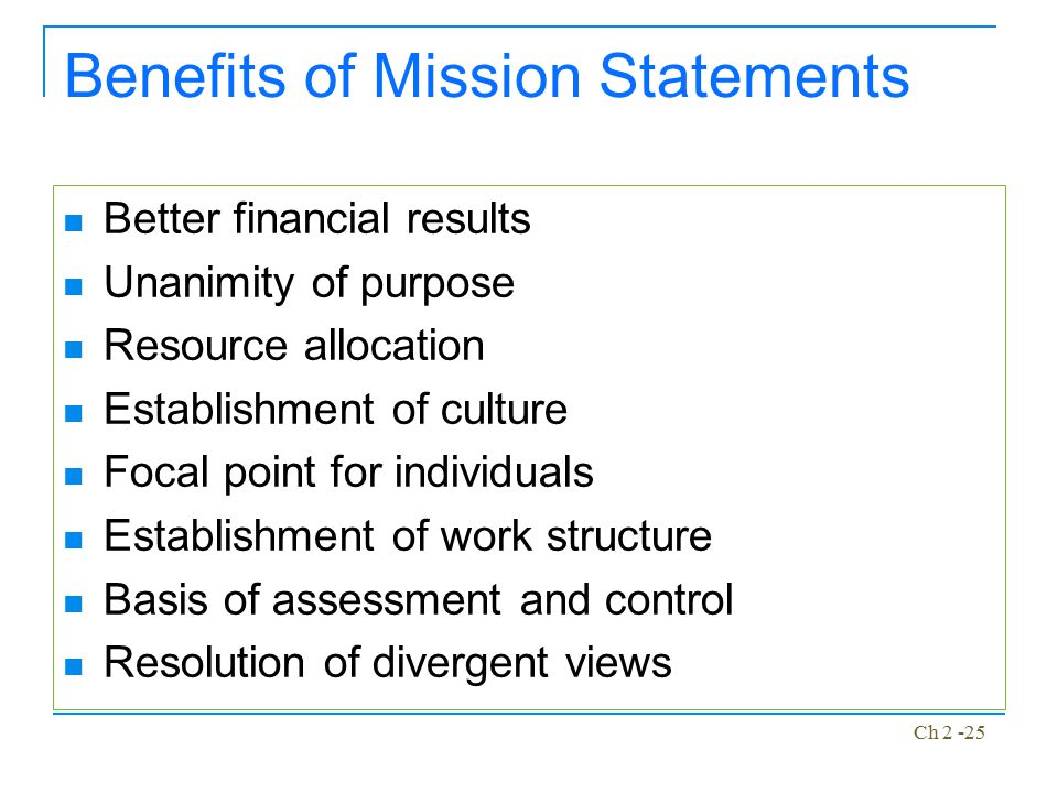 Benefits of Mission Statements