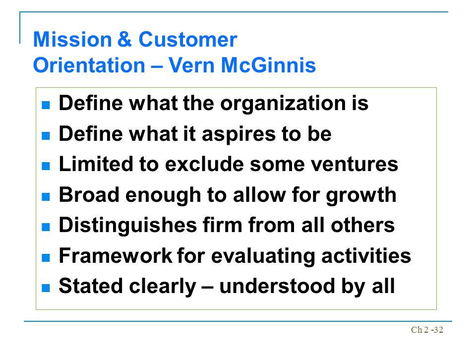 Mission & Customer Orientation – Vern McGinnis