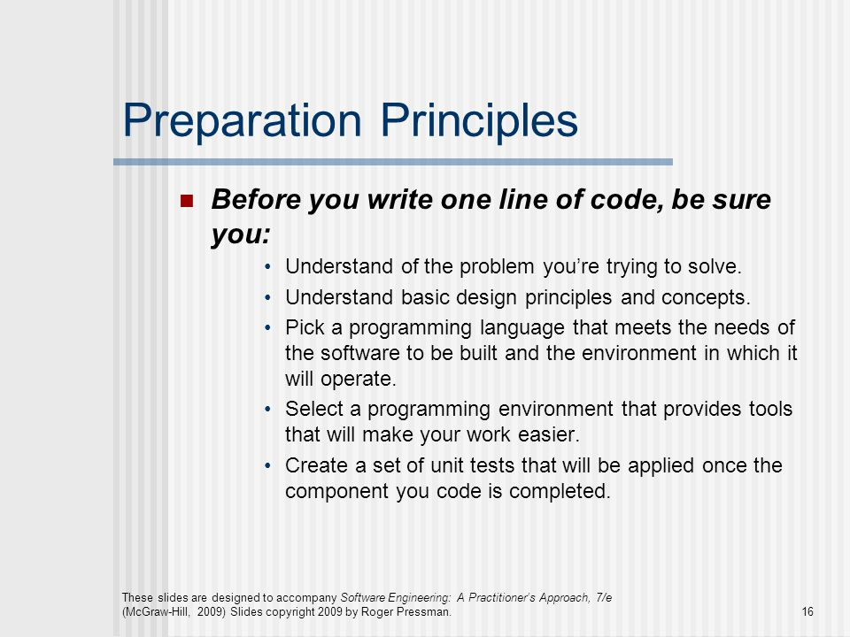 Preparation Principles
