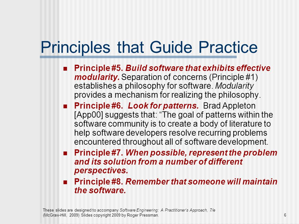 Principles that Guide Practice