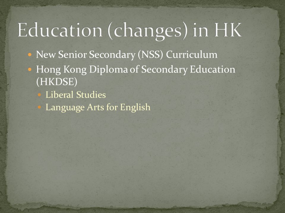 Education (changes) in HK