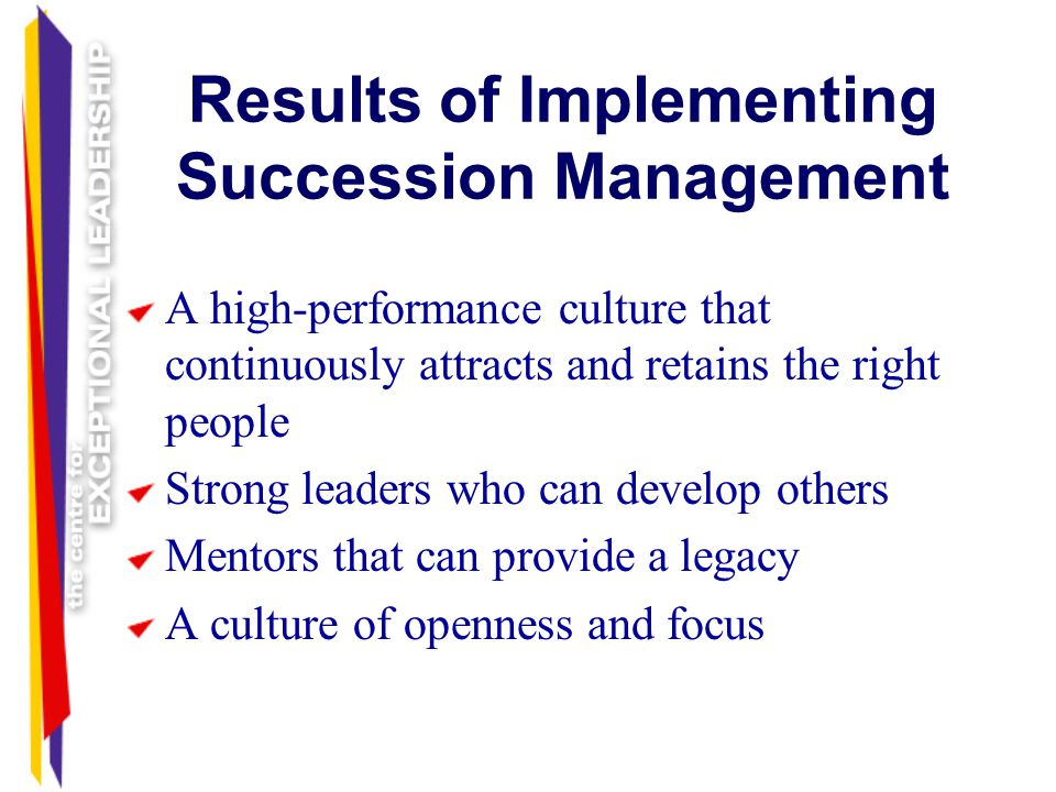 Results of Implementing Succession Management