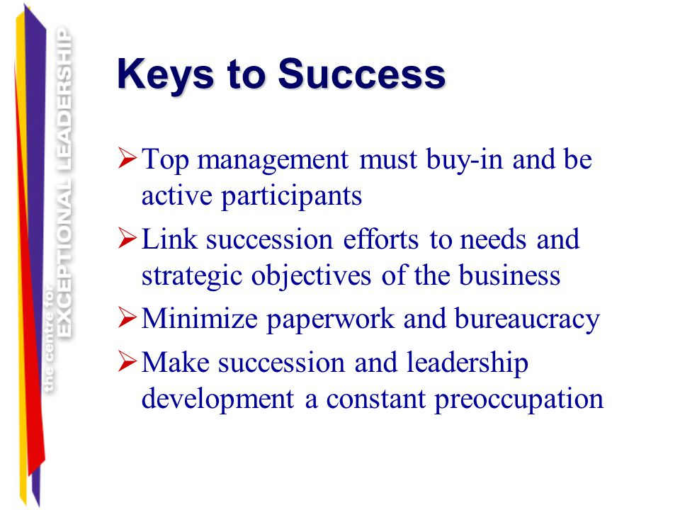 Keys to Success Top management must buy-in and be active participants