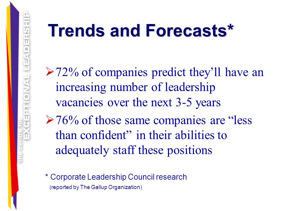 Trends and Forecasts* 72% of companies predict they'll have an increasing number of leadership vacancies over the next 3-5 years.