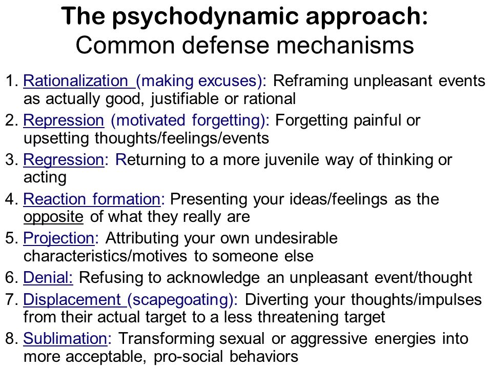 The psychodynamic approach: Common defense mechanisms