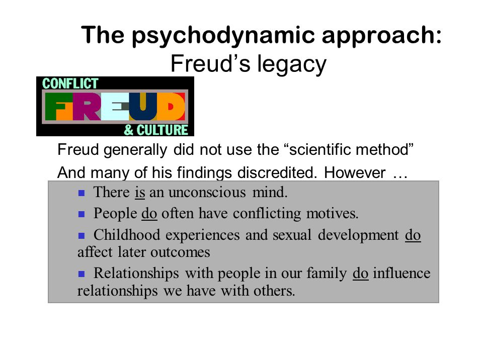 The psychodynamic approach: Freud's legacy
