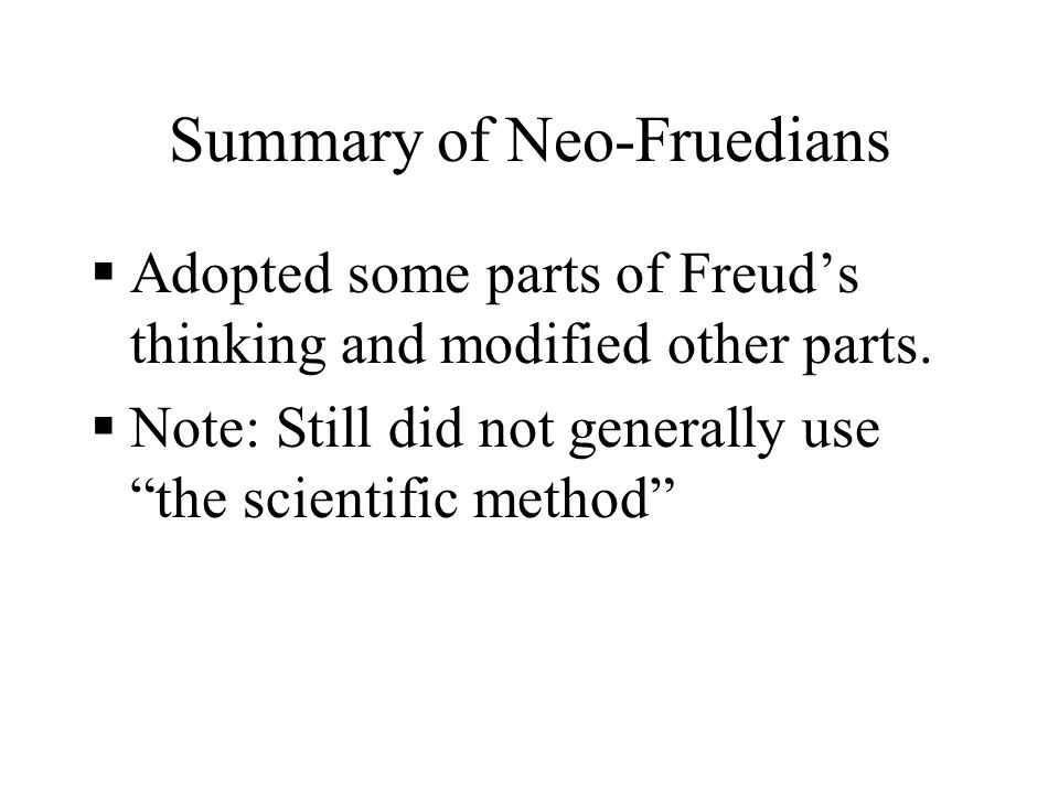 Summary of Neo-Fruedians
