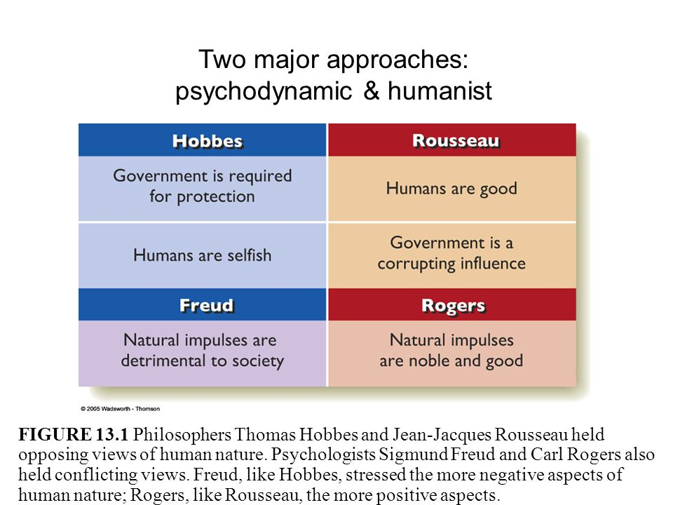 Two major approaches: psychodynamic & humanist