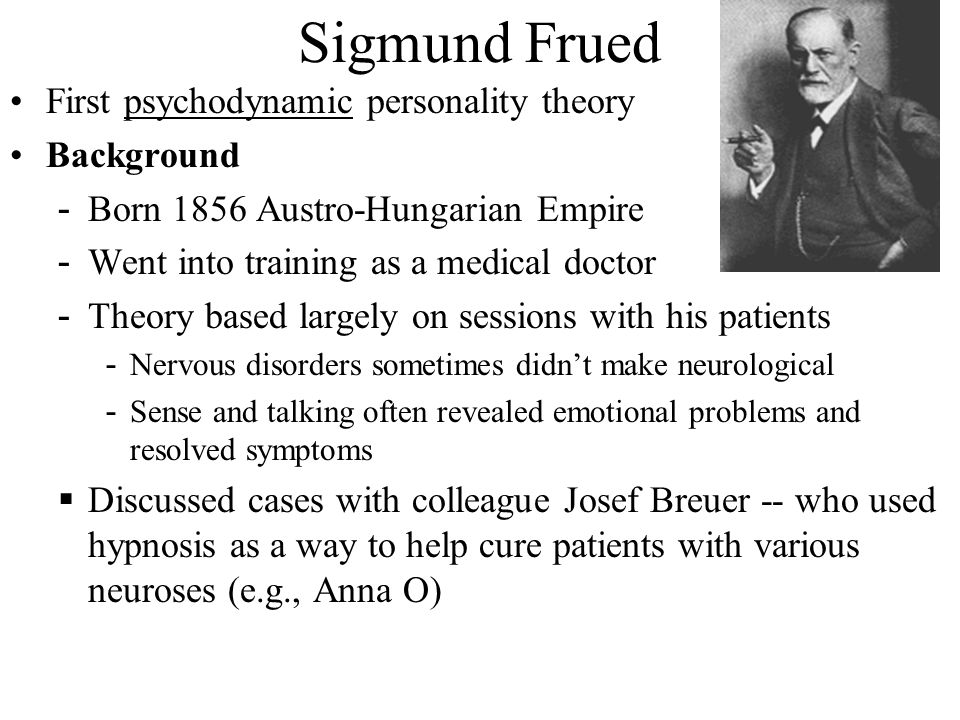 Sigmund Frued First psychodynamic personality theory Background