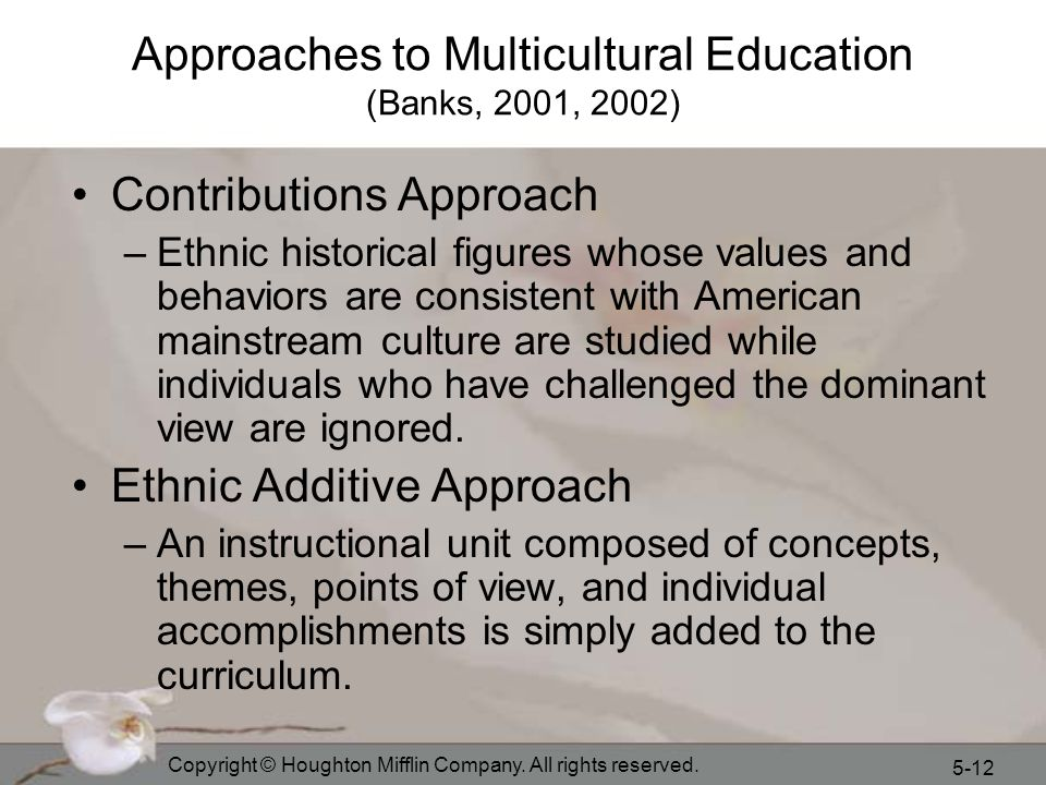 Approaches to Multicultural Education (Banks, 2001, 2002)