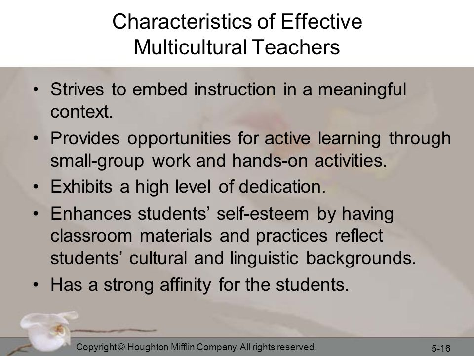 Characteristics of Effective Multicultural Teachers