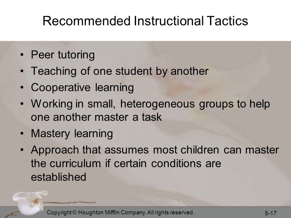 Recommended Instructional Tactics