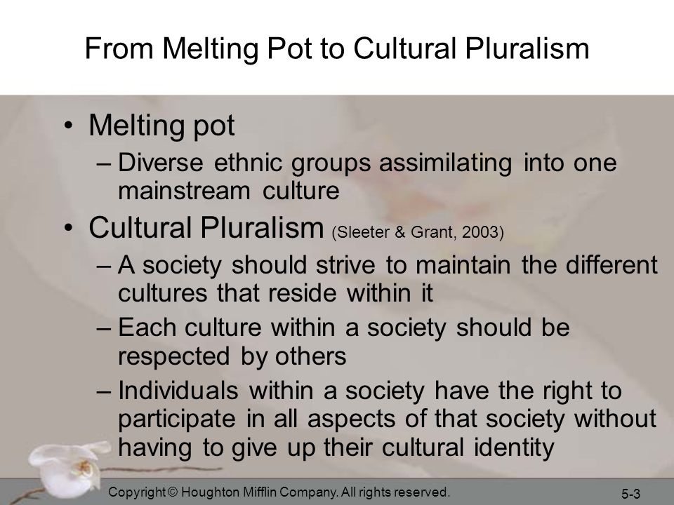 From Melting Pot to Cultural Pluralism
