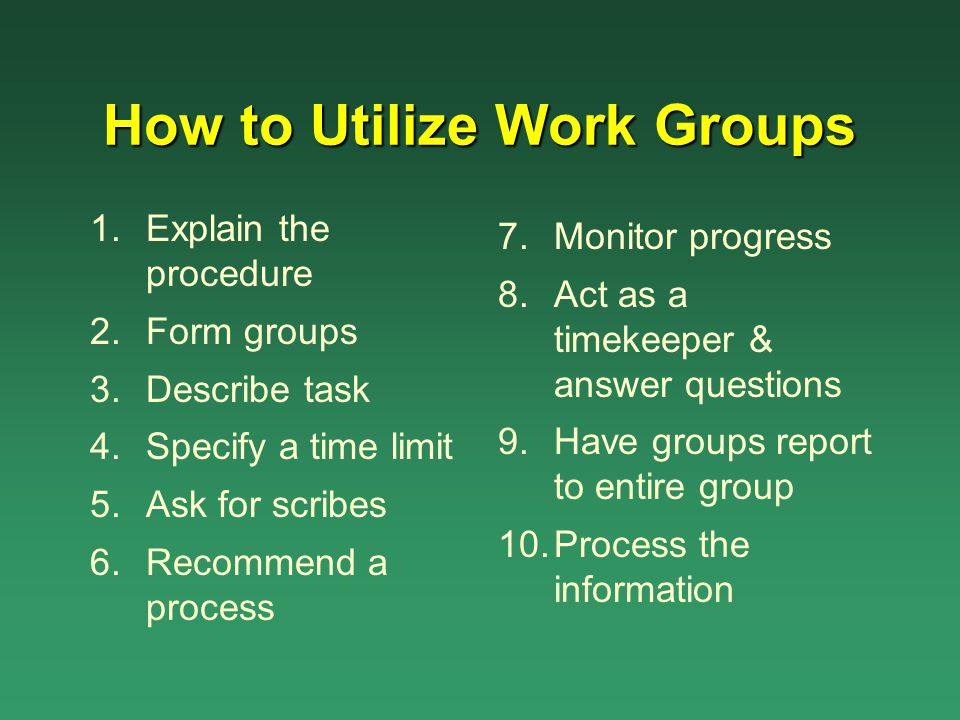 How to Utilize Work Groups