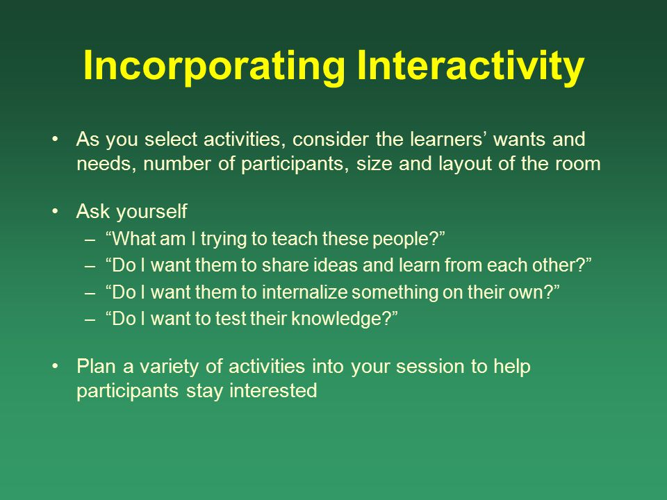 Incorporating Interactivity