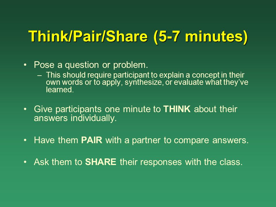 Think/Pair/Share (5-7 minutes)