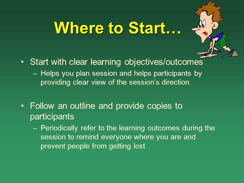Where to Start… Start with clear learning objectives/outcomes