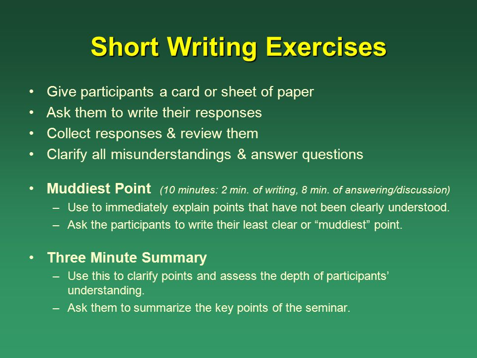 Short Writing Exercises