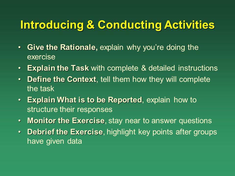 Introducing & Conducting Activities