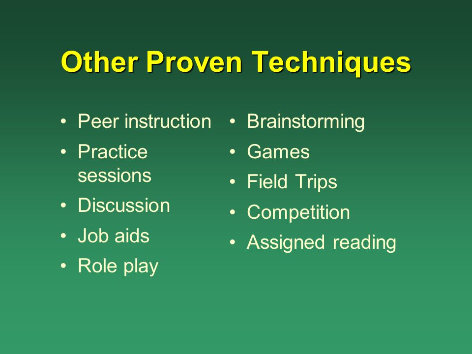 Other Proven Techniques