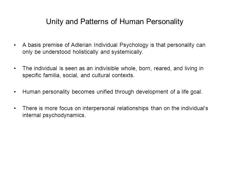 Unity and Patterns of Human Personality