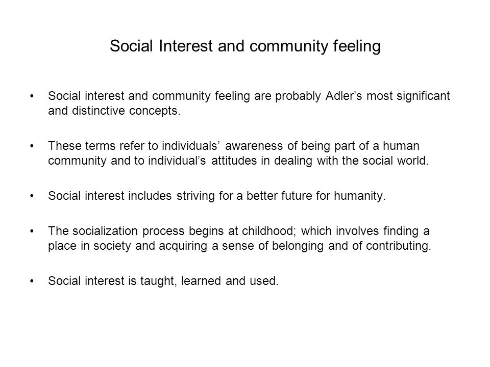 Social Interest and community feeling