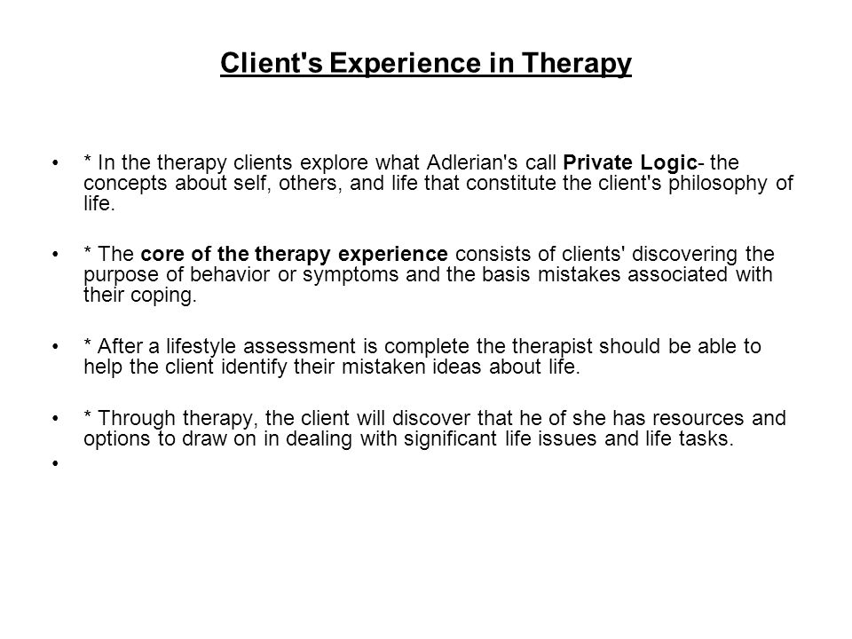 Client s Experience in Therapy