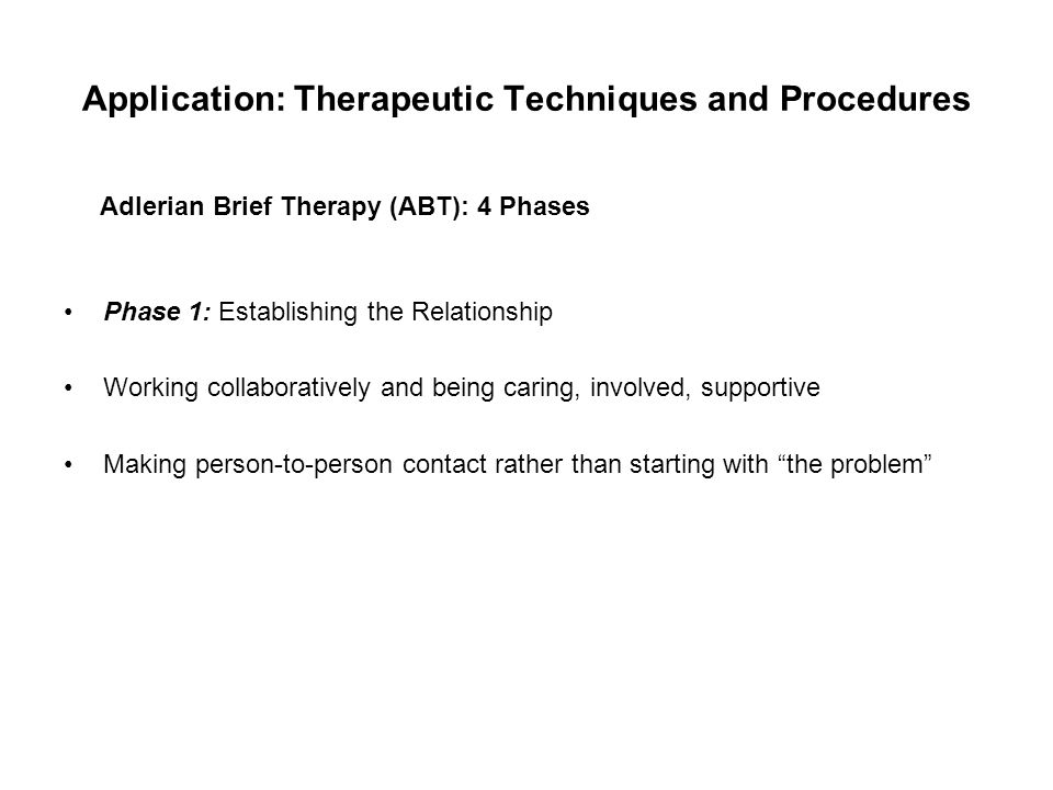 Application: Therapeutic Techniques and Procedures