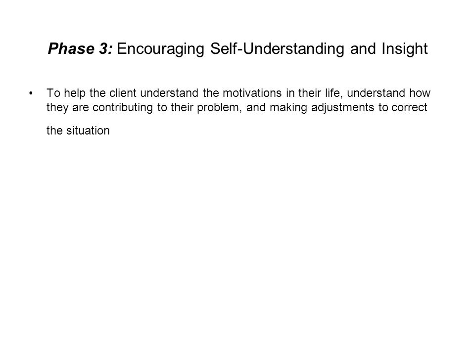 Phase 3: Encouraging Self-Understanding and Insight