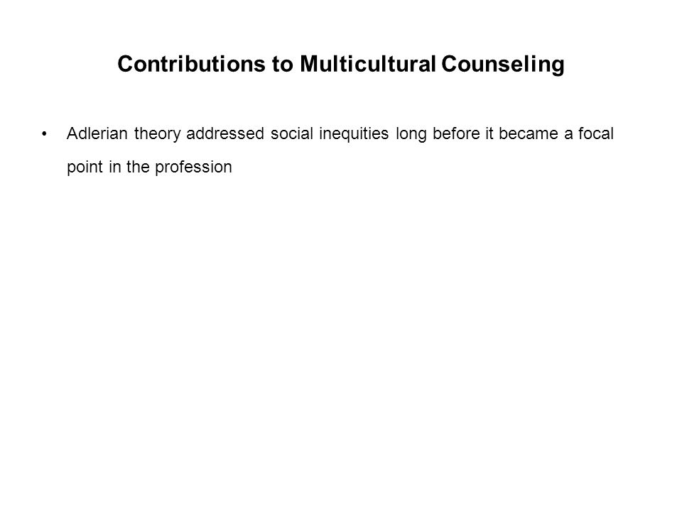 Contributions to Multicultural Counseling