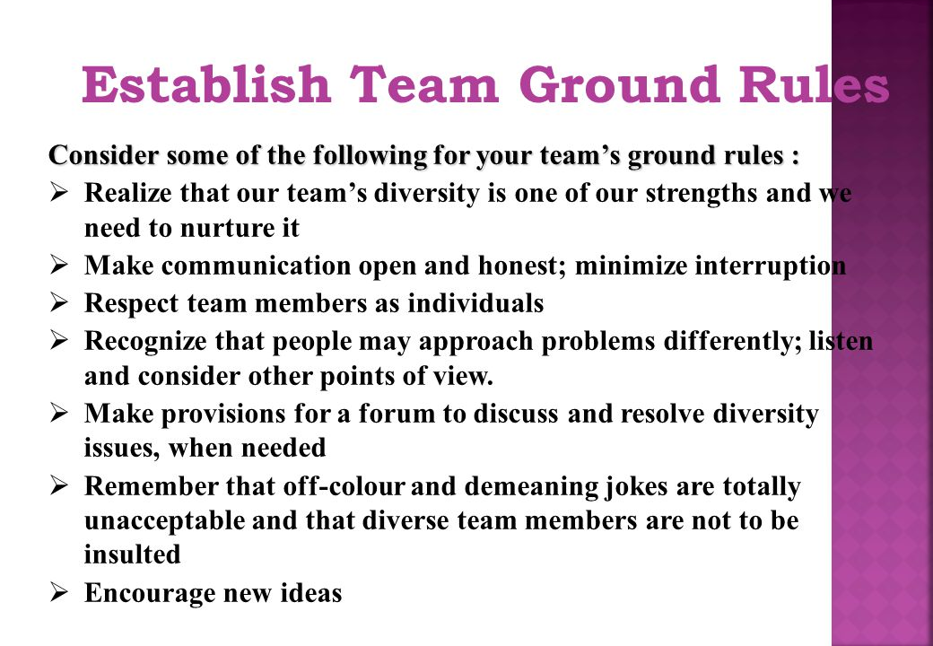 establishing the ground rules essay Essay on classroom environment  ideas and strategies on how to create and maintain inclusive classrooms, such as icebreakers, establishing ground rules,.