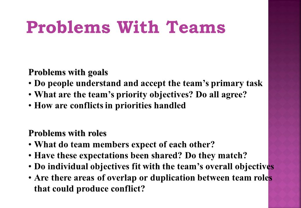 Problems With Teams Problems with goals