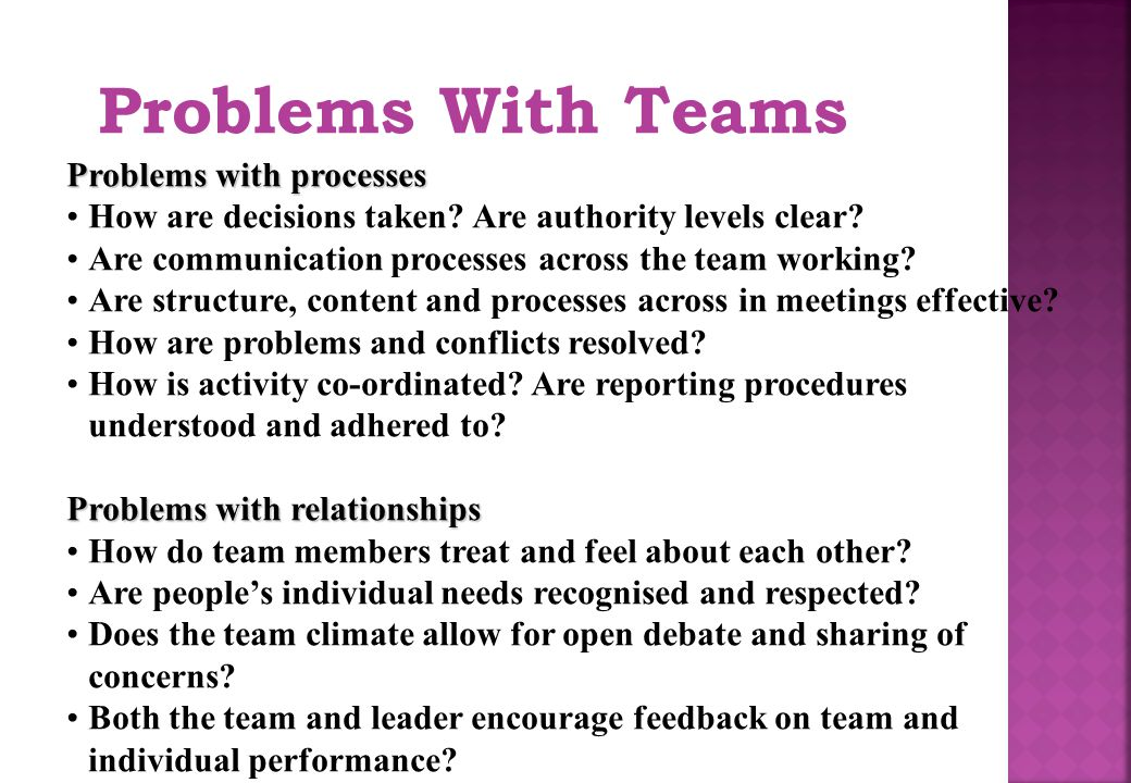 Problems With Teams Problems with processes