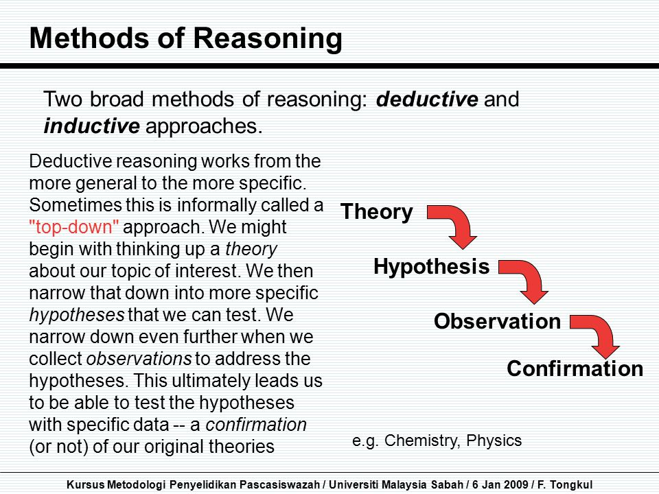 Methods of Reasoning Two broad methods of reasoning: deductive and inductive approaches.