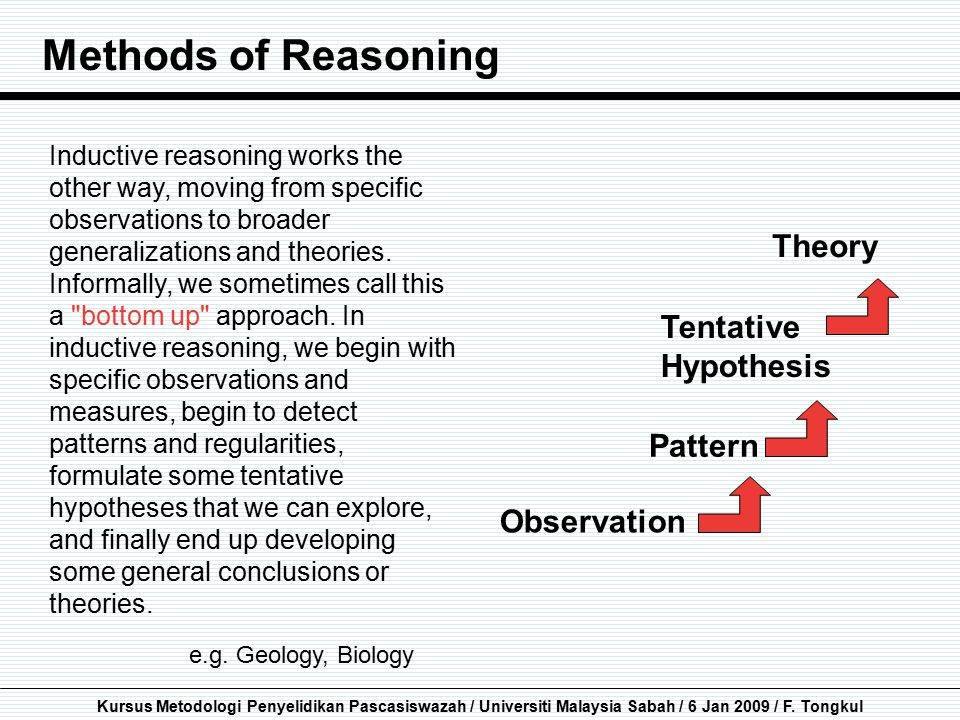 Methods of Reasoning Theory Tentative Hypothesis Pattern Observation