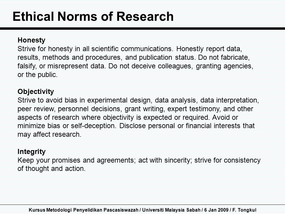 Ethical Norms of Research