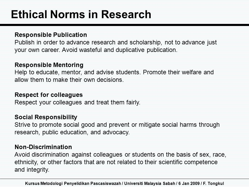 Ethical Norms in Research