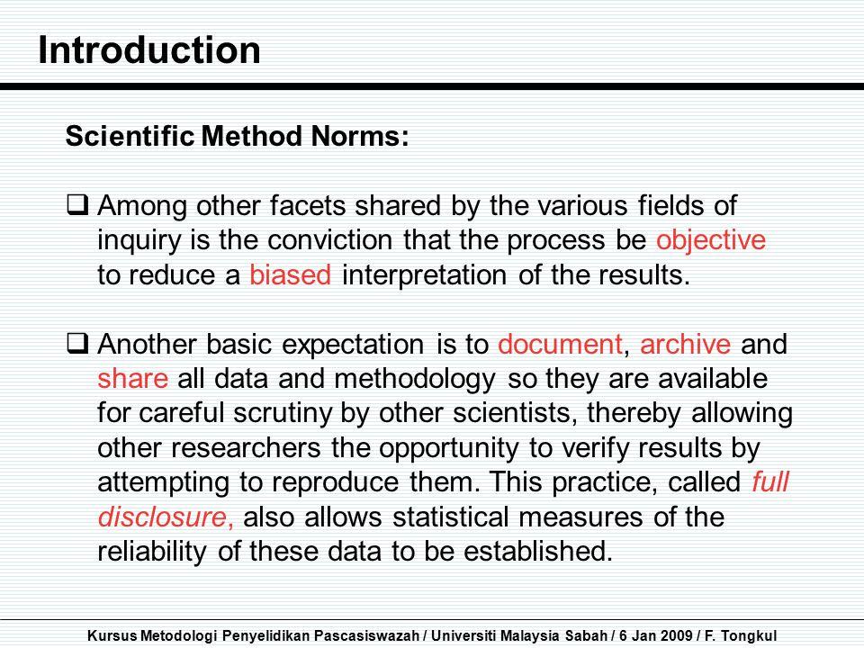 Introduction Scientific Method Norms: