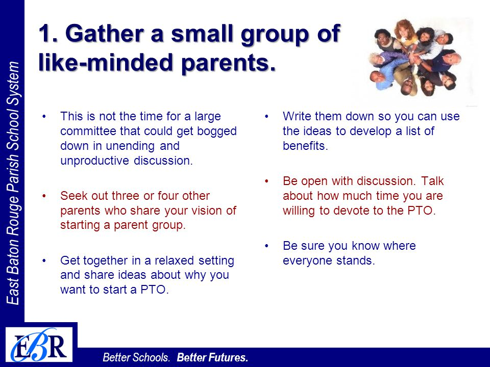 1. Gather a small group of like-minded parents.