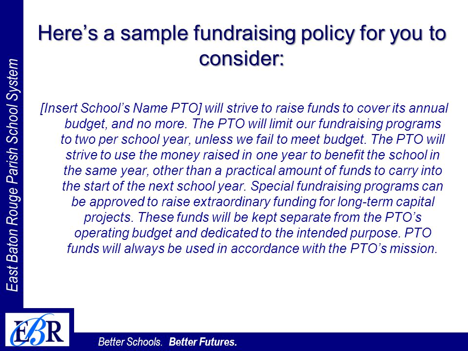 Here's a sample fundraising policy for you to consider: