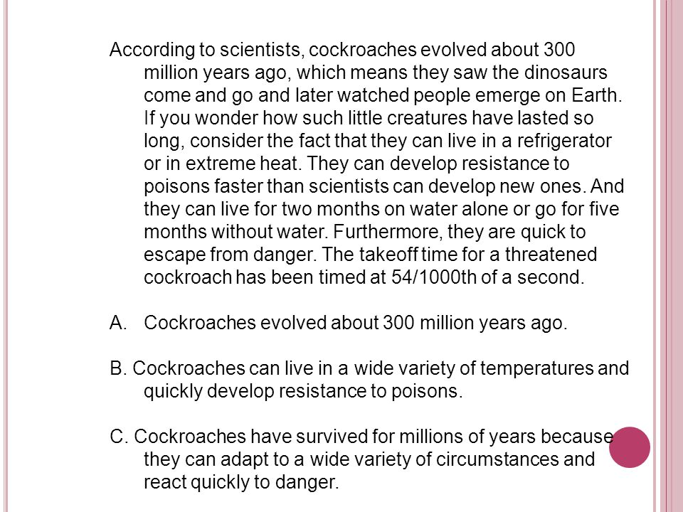 According to scientists, cockroaches evolved about 300 million years ago, which means they saw the dinosaurs come and go and later watched people emerge on Earth. If you wonder how such little creatures have lasted so long, consider the fact that they can live in a refrigerator or in extreme heat. They can develop resistance to poisons faster than scientists can develop new ones. And they can live for two months on water alone or go for five months without water. Furthermore, they are quick to escape from danger. The takeoff time for a threatened cockroach has been timed at 54/1000th of a second.