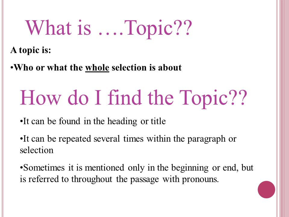 What is ….Topic How do I find the Topic A topic is: