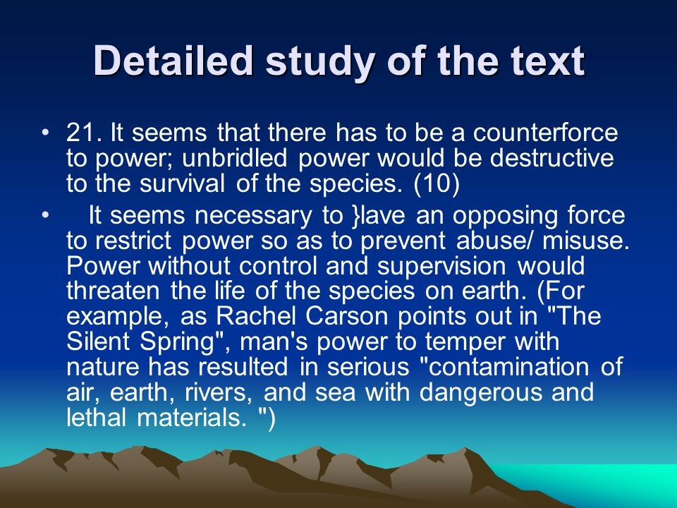 Detailed study of the text