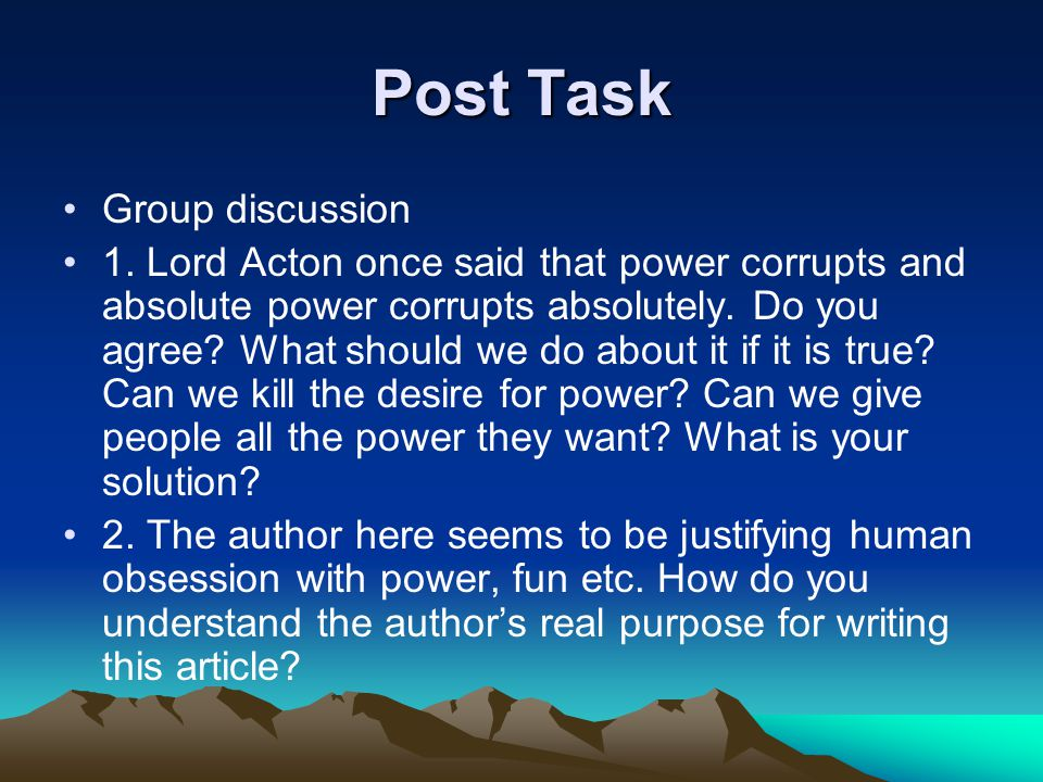 Post Task Group discussion