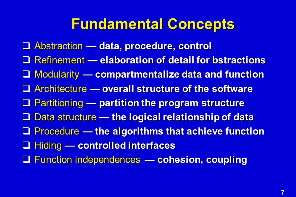 Fundamental Concepts Abstraction — data, procedure, control