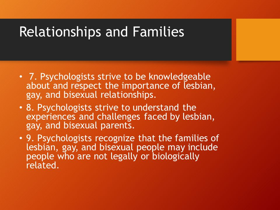 Relationships and Families